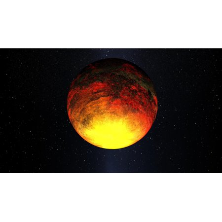 Artist concept of Kepler-10b the discovery of its first rocky planet named Kepler-10b Measuring 14 times the size of Earth it is the smallest planet ever discovered outside our solar system Poster