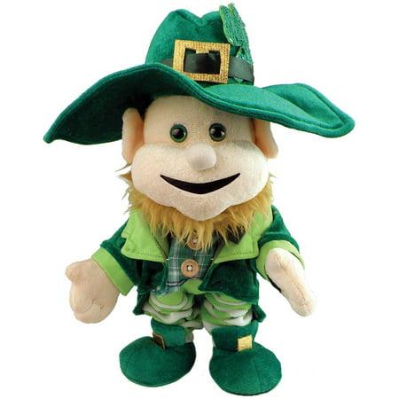 St. Patrick's Day Singing Dancing Light Up Leprechaun Plush Doll Party Decoration, Green, 12
