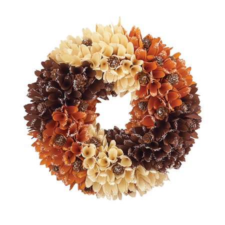 Rustic Front Door Autumn Wreath w/ Wooden Curl (Wealth At The Bottom Of The Pyramid)