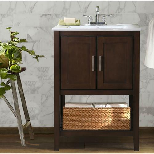 Legion Furniture Ceramic Single Sink Bathroom Vanity with Basket