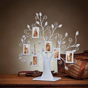 White Metal Family Tree Display Stand With 6 2x3 Hanging Photo