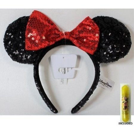 Disney Theme Parks Minnie Mouse Sequin Headband Red Black Mouse - Sequin Minnie Mouse Ears