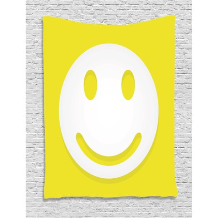 Yellow Tapestry, Rise Wake Uo Positive Optimistic Life Message Big Smiley Happy Face Artwork, Wall Hanging for Bedroom Living Room Dorm Decor, Yellow and White, by Ambesonne - Big Yellow Smiley Face