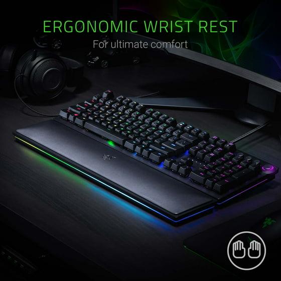 375e0b7cc93 Razer Huntsman Elite: Opto-Mechanical Switch - Multi-Functional Digital  Dial & Media Keys - Leatherette Wrist Rest - 4-Side Underglow - Gaming  Keyboard ...