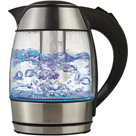 Brentwood KT-1960BK Borosilicate Glass Tea Kettle with Infuser, Black