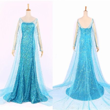 Fashion Hot Blue Bling Frozen Elsa Queen Adult Women Party Dress Costume Elsa Dresses Hende