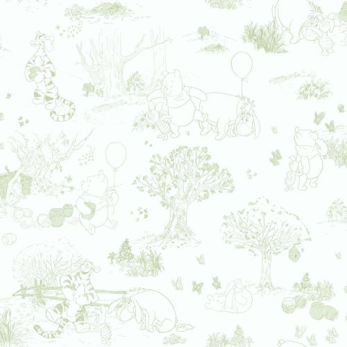 York Wallcoverings  DK5843  Wallpaper  Walt Disney Kids : Pooh & Friends  Home Decor  ;White / Green