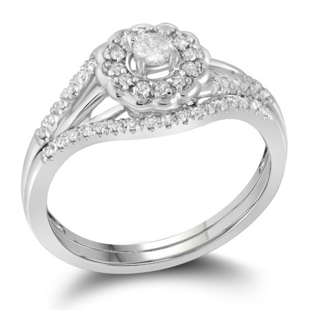 10k Gold Flower Ring (10k White Gold Round Diamond Cluster Womens Wedding Flower Floral Bridal Ring Set 1/4 Cttw)