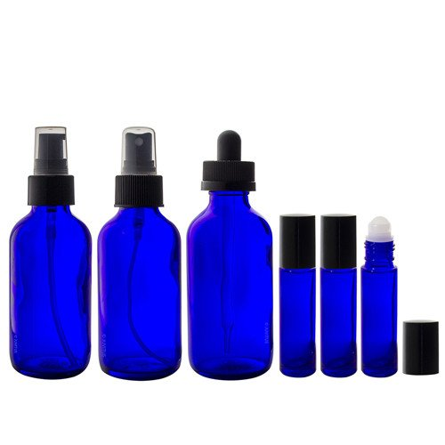 4 oz Cobalt Blue Glass Bottle 6 piece Starter Kit Set