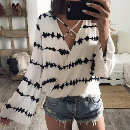 Sexy Women Bandage Blouse Loose Long Sleeve Stripe Printed Casual T Shirt Tops