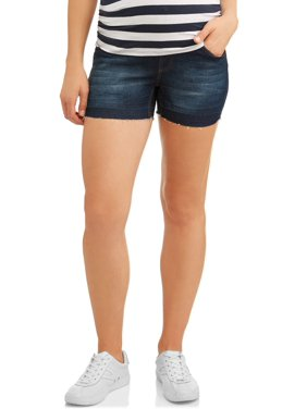 Oh! Mamma Maternity Full Panel Denim Shorts with Open Seam - Available in Plus Sizes