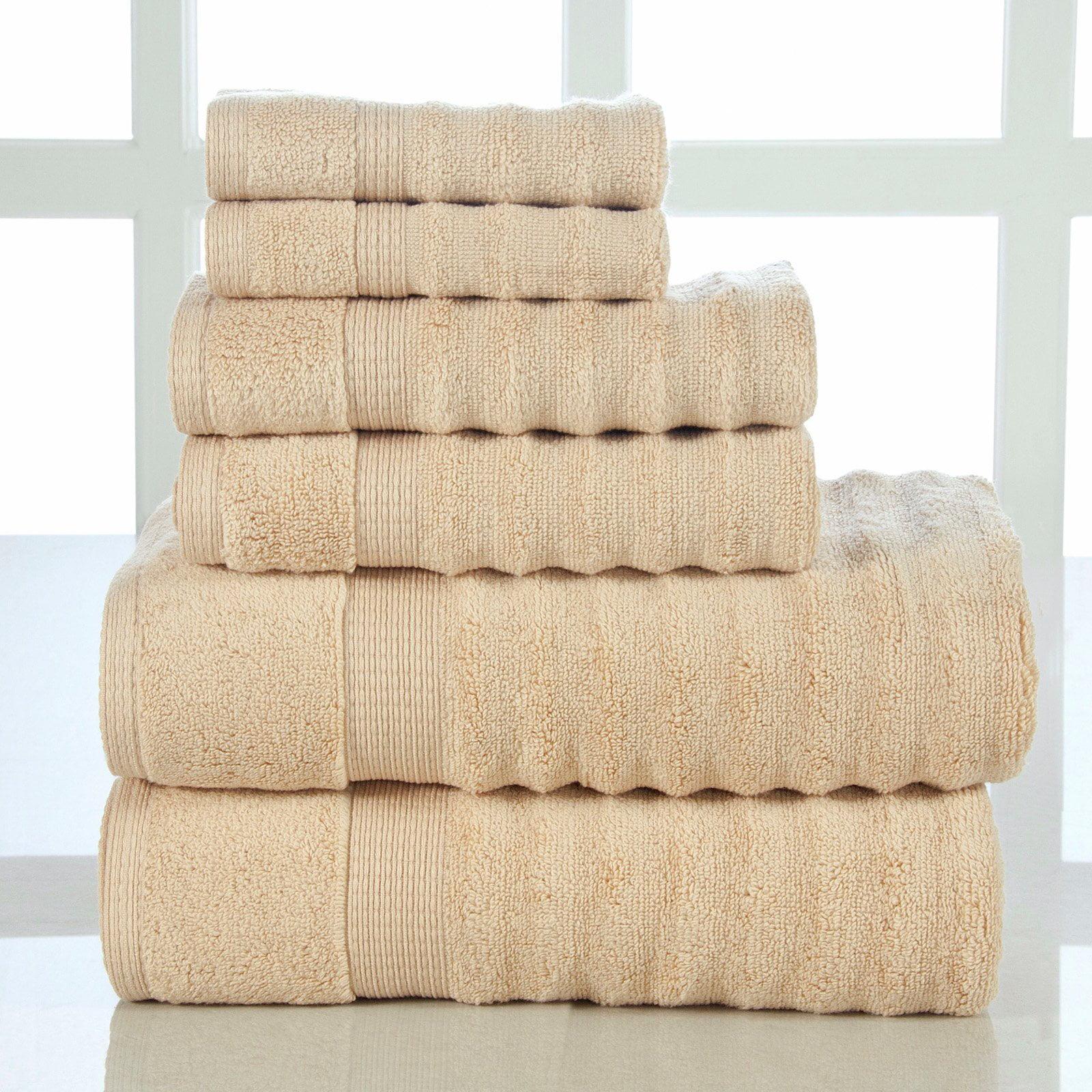 Elegance Spa 6 Piece Quick Dry Ribbed Cotton Towel Set