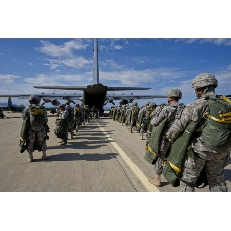 May 29 2014 - US Army paratroopers prepare to jump during a Joint Forcible Entry exercise in support of Allied Forge 2014 near Solanzara Air Base Corsica France Poster Print