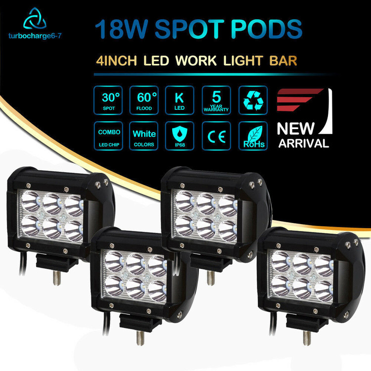 off road led working lights wiring kit 4x4 wiring diagram id 4in 18w led utility light kit wiring harness 4 pack led work 18w
