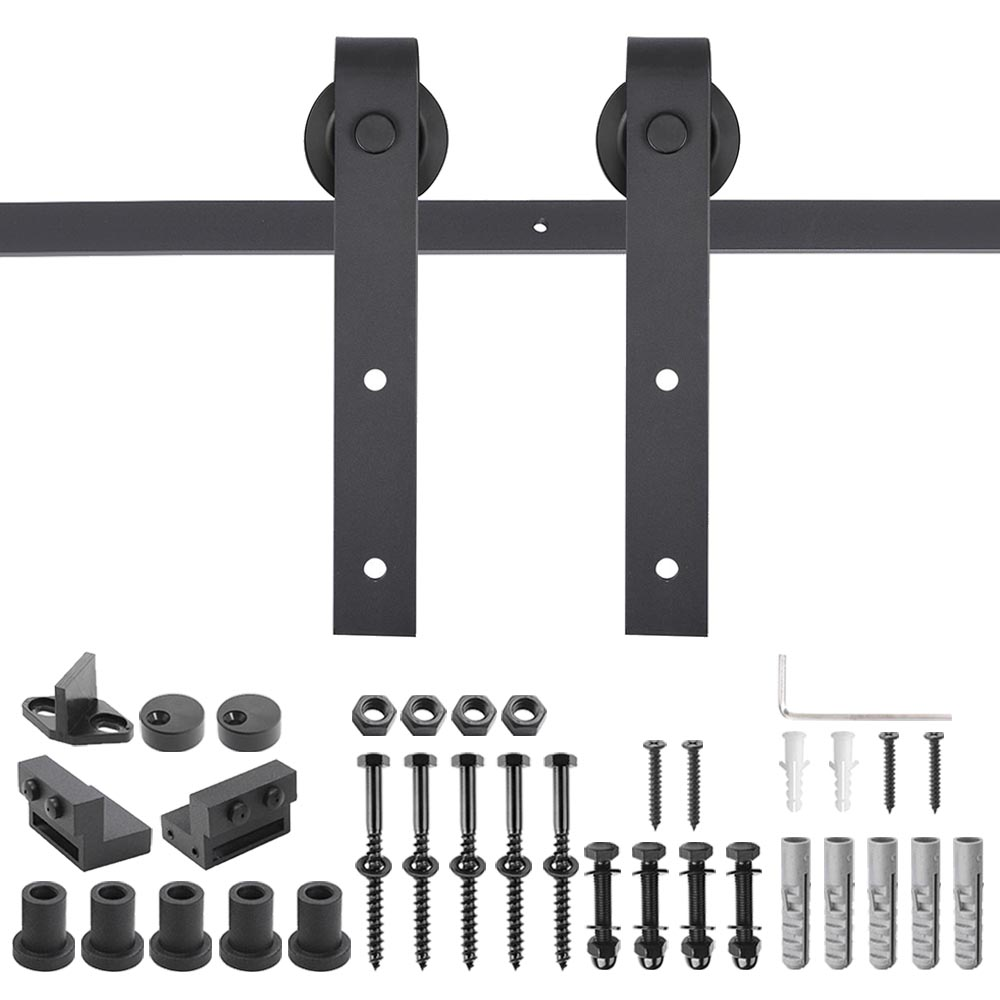 TCBunny 6.6 FT Antique Style Sliding Wood Barn Door Hardware Track Rail Kit Black