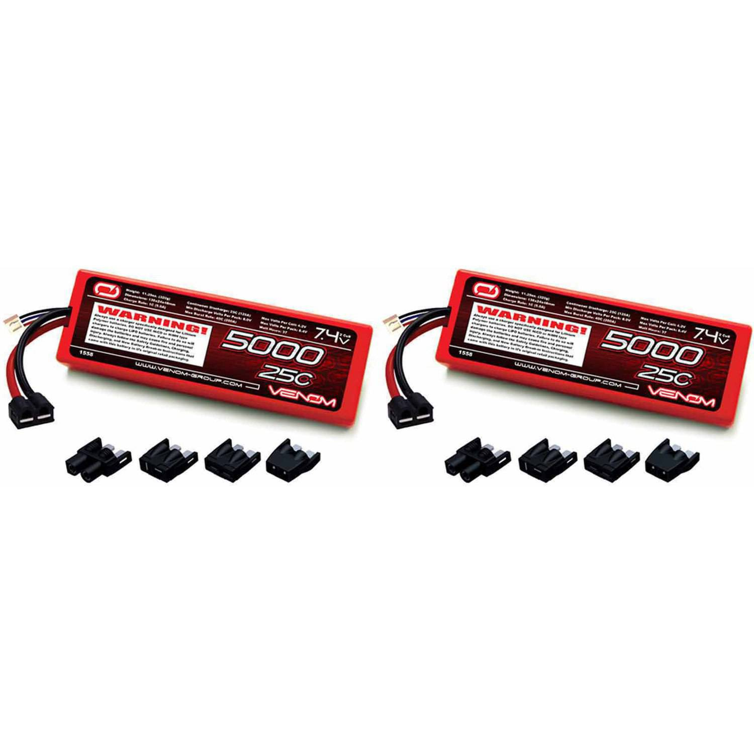 Venom 25C 2S 5000mAh 7.4V Hard Case LiPo Battery with Universal Plug (EC3/Deans/Traxxas/Tamiya) x2 Packs