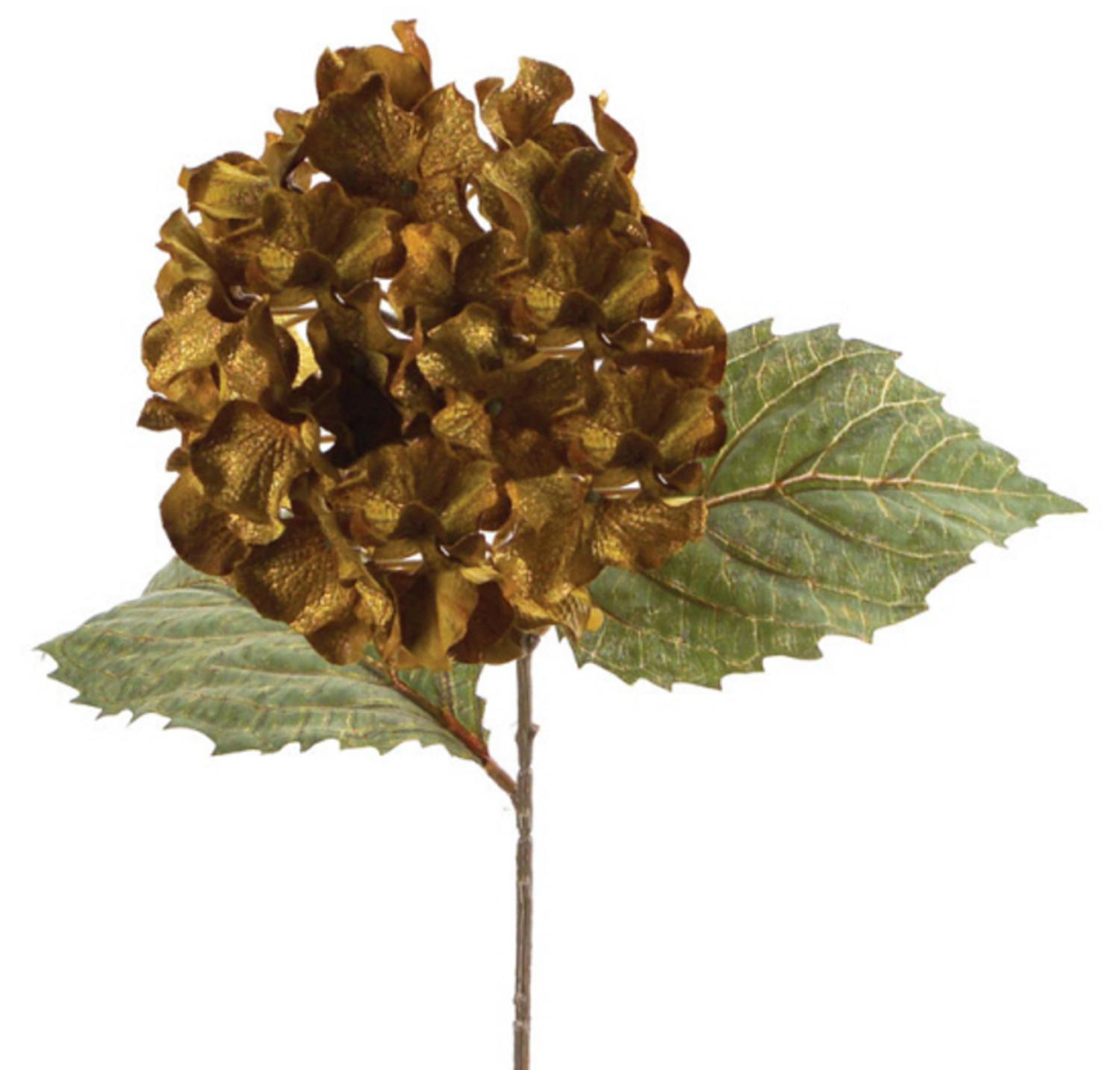 Pack of 6 Green and Gold Artificial Silk Hydrangea Stem Flowers with Glitter