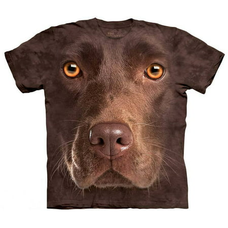 Chocolate Lab Face T-Shirt Oversized Print Dog Mountain 100% Cotton Adult - Mountain Dog Tie
