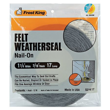 Frost King S214/17H 17 ft. Draft Seal, Gray
