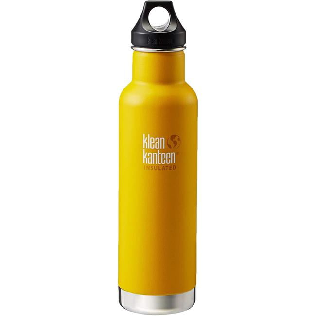 Klean Kanteen 1003106 Classic Stainless Steel Double Wall Insulated Water Bottle with Loop Cap, Lemon Curry