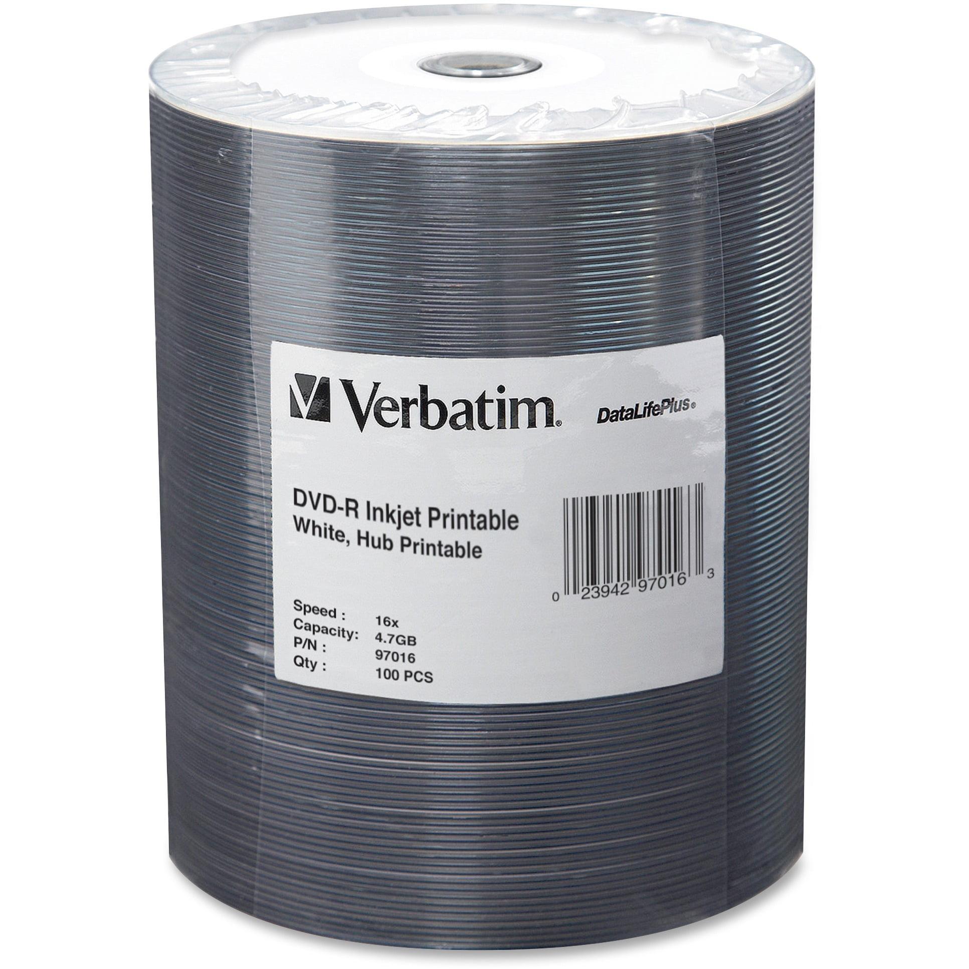 Verbatim, VER97016, 16X DataLifePlus Inkjt Hub Printable DVD-Rs, 100, White