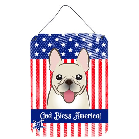 God Bless American Flag with French Bulldog Wall or Door Hanging