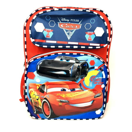 "2017 Pixar Cars 3 Boys 16"" School Backpack -LMQ Top Speed Lightning Mcqueen"