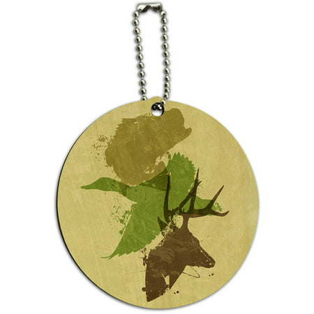 - Hunting Fishing Design Deer Duck Bass Trout Camo Round Wood ID Tag Luggage Card