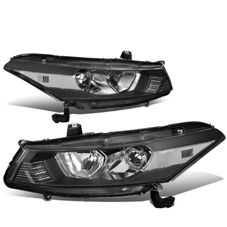 For 2008 to 2012 Honda Accord 2 -Dr Coupe Pair Black Housing Clear Corner Headlight / Headlamps 09 10 (1989 Honda Accord Coupe)