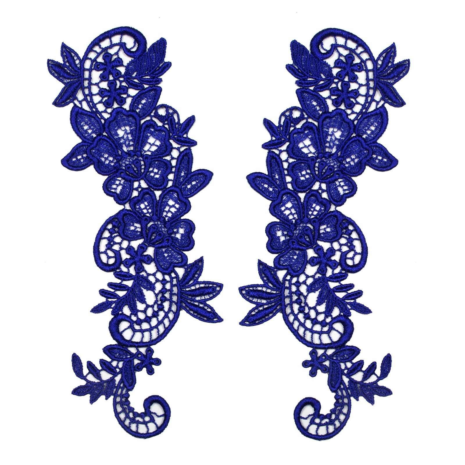 """2.75"""" x 8"""" Red Black Blue Green Embroidered Venice Lace Sewing Supplies by Pair"""