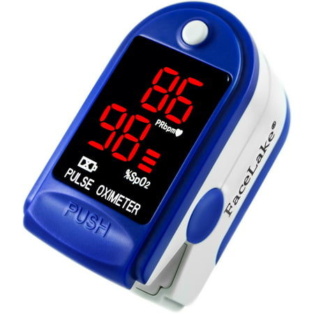 FaceLake Blue Pulse Oximeter with Carrying Case, Lanyard &