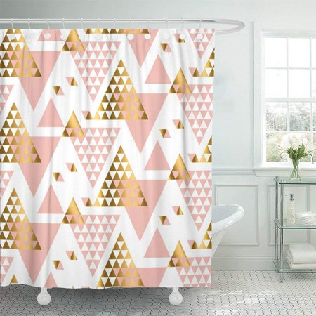ARTJIA Pink Abstract Geometry Triangle Pattern Gold Nouveau Ornamented in Yellow and Rose Color White Chic Shower Curtain 66x72 inch - Yellow Shower