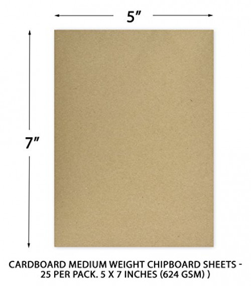 Medium Weight Chipboard Sheets 624 gsm | 8.5 x 11 Inches 30 pt 25 Sheets Black Chipboard