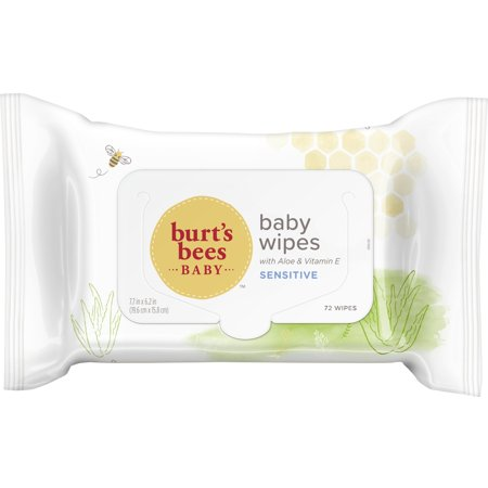 Burts Bees Baby Wipes, Unscented Natural Baby Wipes for Sensitive Skin with Aloe and Vitamin E - 72 Wipes