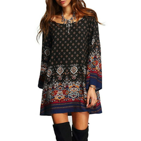 BOHO Womens Casual Floral Printed Dress Loose Long Tops Ladies Summer Party Crew Neck T Shirt Short Mini Dresses (Medieval Dresses For Women)
