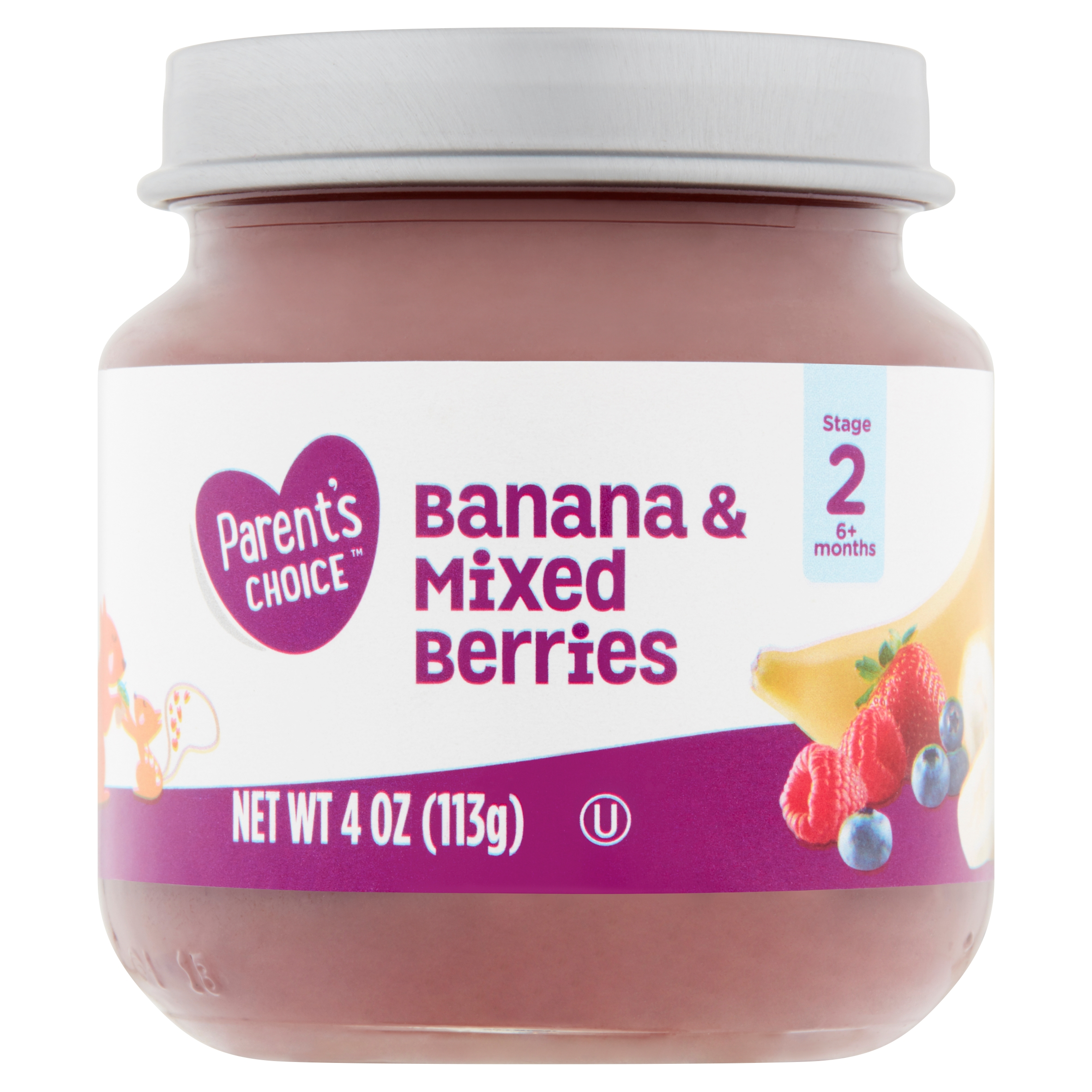 Parent's Choice Baby Food, Banana & Mixed Berries, Stage 2, 4 oz