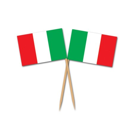 Club Pack of 600 Green, White & Red Striped Italian Flag Food, Drink or Decoration Party Picks 2.5