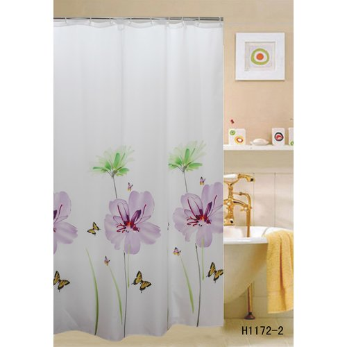 Kashi Home Lily Shower Curtain, Flower & Butterflies Printed