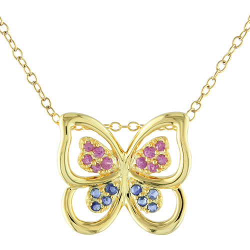 1/3 Carat T.G.W. Pink and Blue Sapphire Yellow-Plated Sterling Silver Butterfly Pendant, 18""