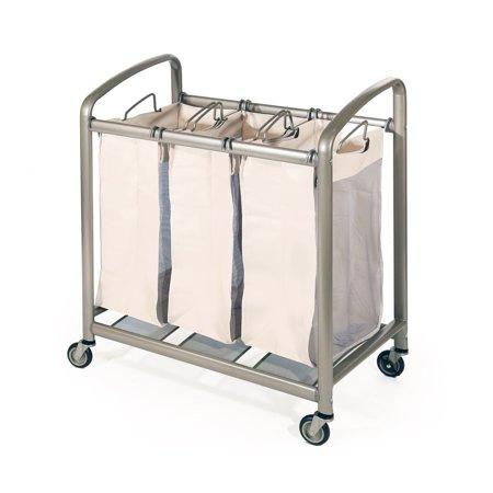 Seville Classics Deluxe Mobile 3-Bag Heavy-Duty Laundry Hamper Sorter Cart