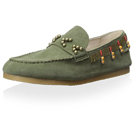 House of Harlow 1960 Women's Shayla Beaded Moccasin, Olive, 8 M