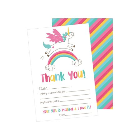 25 Unicorn Kids Thank You Cards, Fill In Thank You Notes For Kid, Blank Personalized Thank Yous For Birthday Gifts, Stationery For Children Boys and Girls - Unicorn Thank You Cards