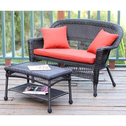 Jeco Wicker Patio Love Seat and Coffee Table Set in Espresso with Red Orange Cushion