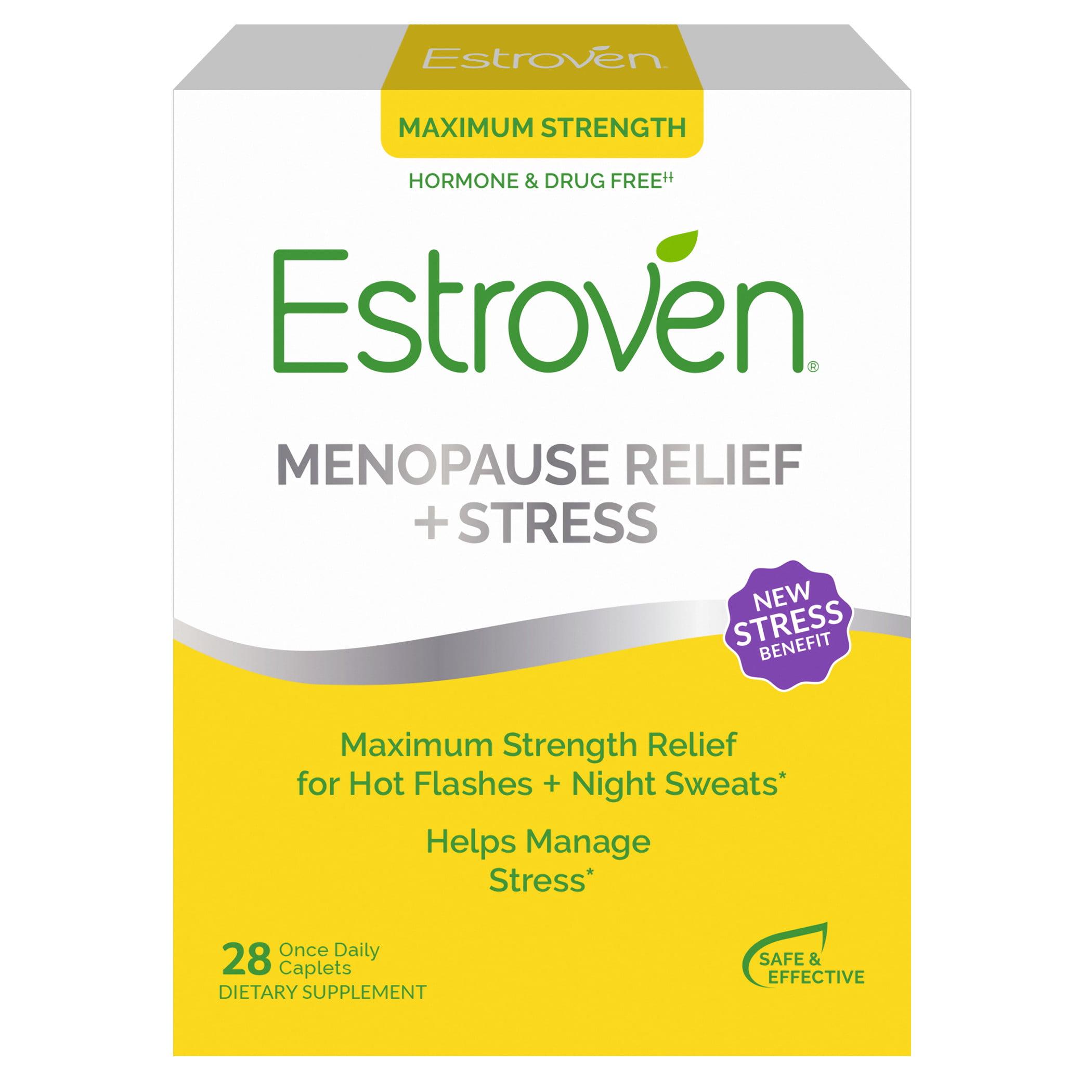 Estroven Menopause Relief Stress Maximum Strength Hormone Free 28 Ct Walmart Com Walmart Com