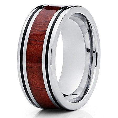- Koa Wood Titanium Ring 8mm Titanium Wedding Band Polished Silver Wedding Band Flat Design Men Comfort Fit
