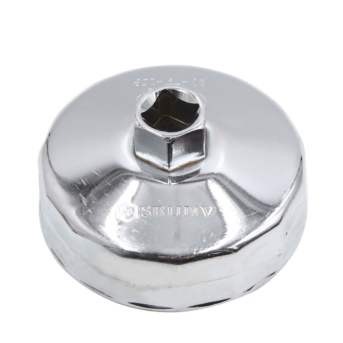 80mm 15 Flutes Silver Tone Metal Car Oil Filter Cap Wrench Socket Remover Tool