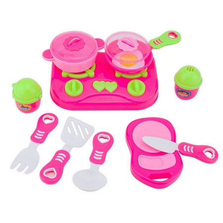 11Pcs Pink Kids House Kitchen Toy Cooking Food Dishes Cookware Pretend & Play Kitchen Playset (Play Food And Dishes)