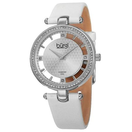 Women's Swiss Quartz Diamond Dial Satin White Strap Watch