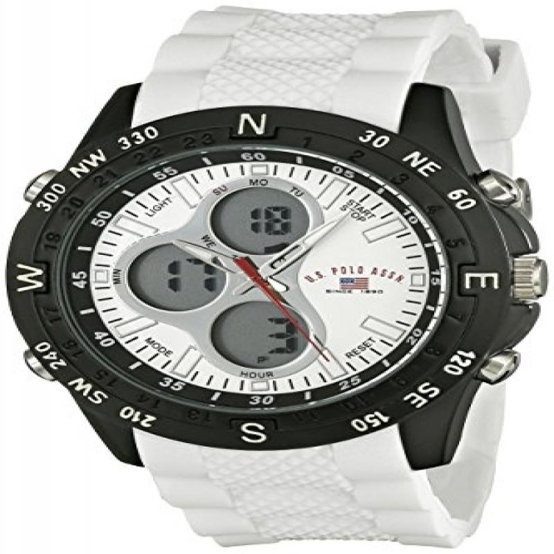 U.S. POLO ASSN Sport Men's US9143 Watch with White Rubber...