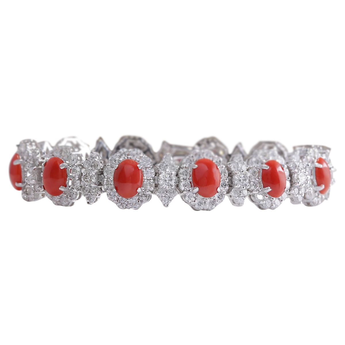 18.77 CTW Natural Red Coral And Dimond Bracelet In 14k Solid White Gold by